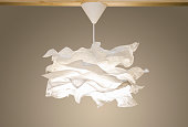 White modern pendant light, paper chandelier in Scandinavian nordic style