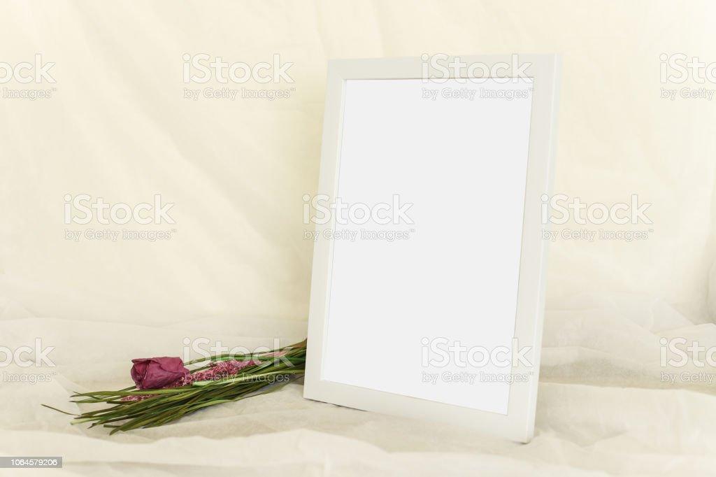 White modern photo frame isolated on table stock photo