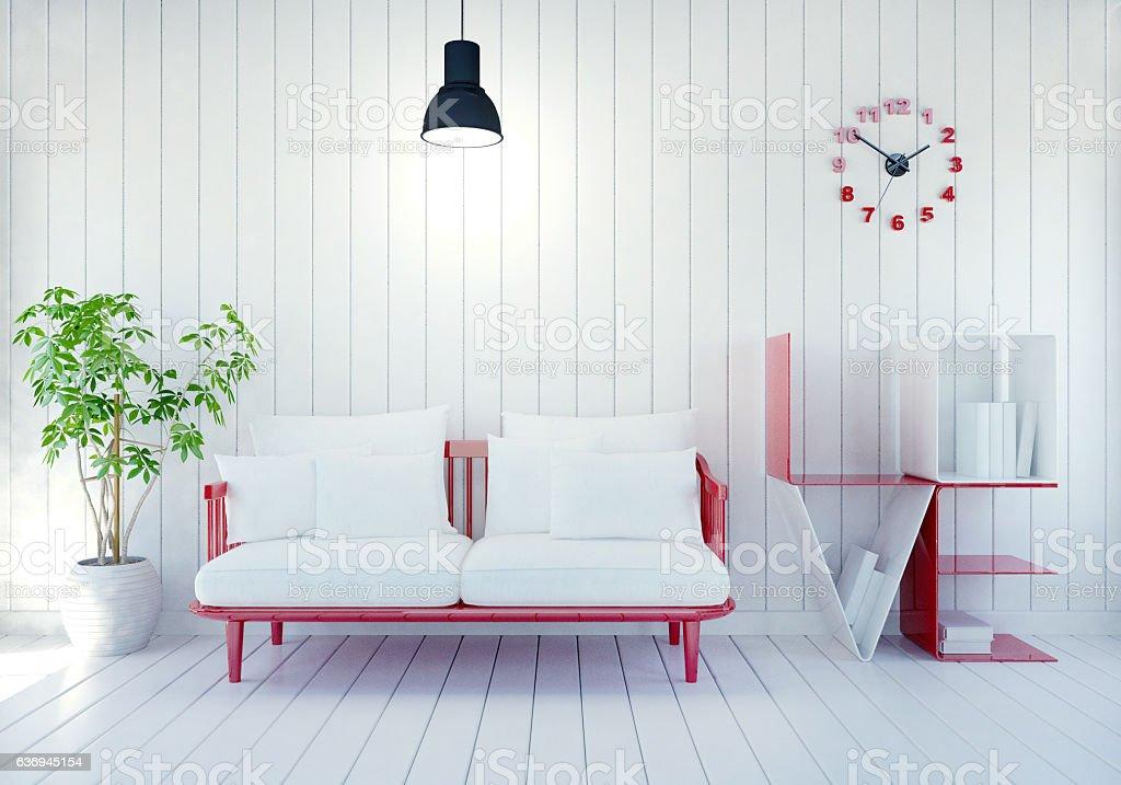 White modern room interior with Love shelf for Valentine's day – Foto