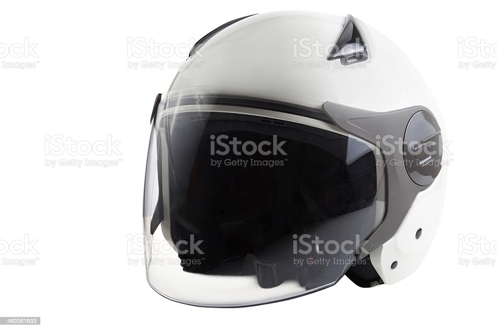 scooter casco blanco moderno - foto de stock