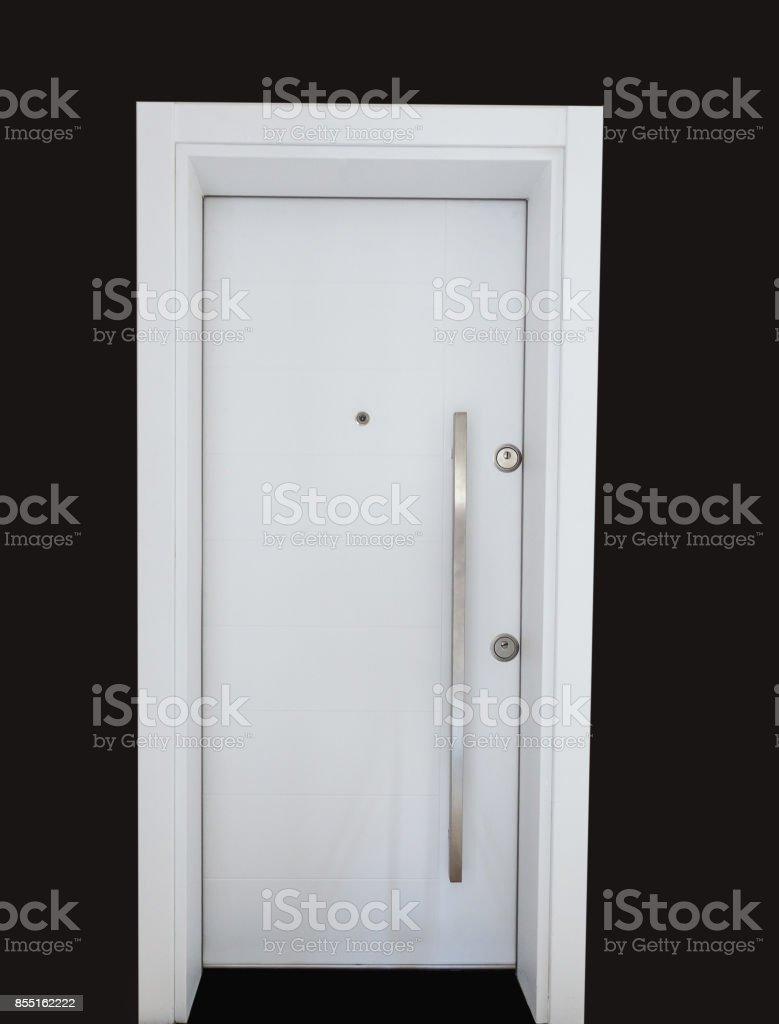 White modern steel door stock photo