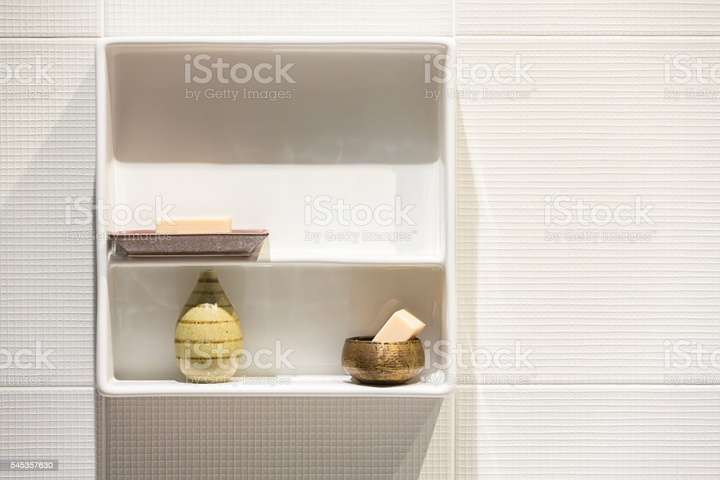 White modern style accessories shelf stock photo
