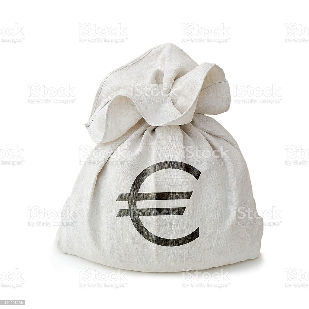 A white moneybag with a euro sign on the front on white royalty-free stock photo
