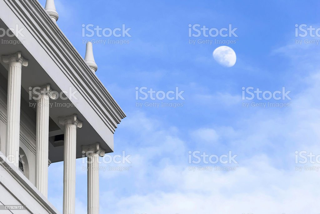 White moon in the blue sky royalty-free stock photo