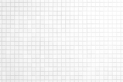Close up cleaning white mosaic tiles shower wall texture background