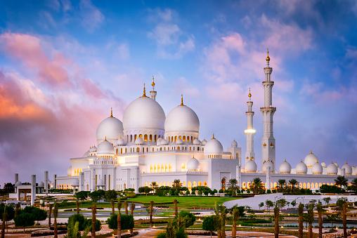 Abu Dhabi, United Arab Emirates, November 29, 2014 : The famous Sheikh Zayed Grand Mosque at dusk (Abu-Dhabi, UAE)