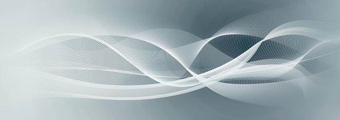 White Motion Lines On Light Blue Gray Banner Background ...