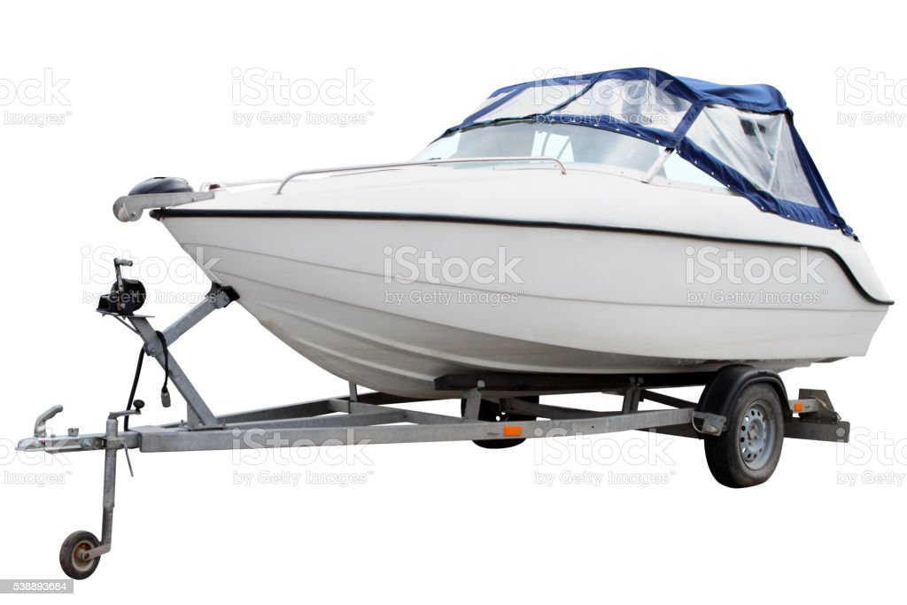 White motor boat. stock photo