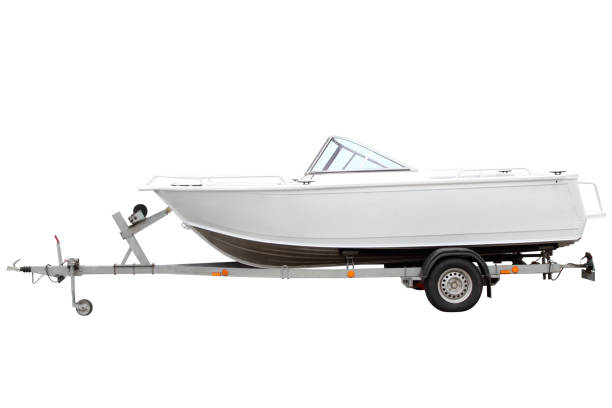 White motor boat. stock photo