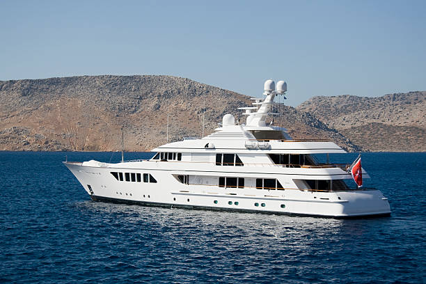 White motor yacht on Mediterranean sea stock photo