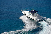 istock White motorboat making waves on blue water 171578812