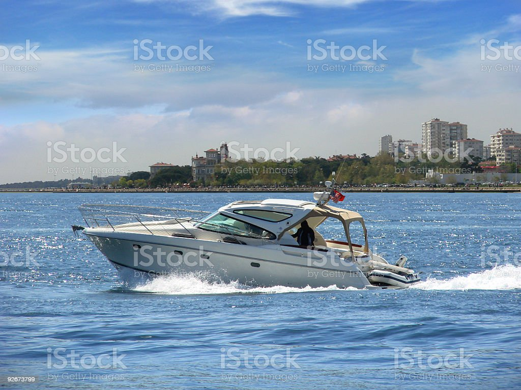 White Motorboat royalty-free stock photo