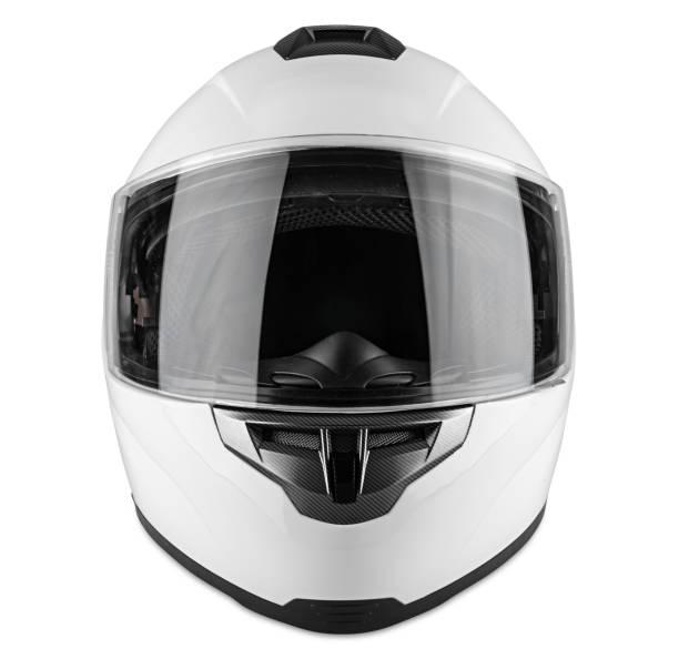 WeißeMotorrad Carbon integral Crash Helm isoliert weißen Hintergrund. Motorsport Auto Kart Renntransport Sicherheitskonzept – Foto