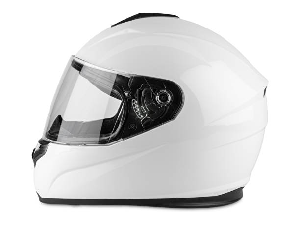 white motorcycle carbon integral crash helmet isolated white background. motorsport car kart racing transportation safety concept - helmet motorbike imagens e fotografias de stock