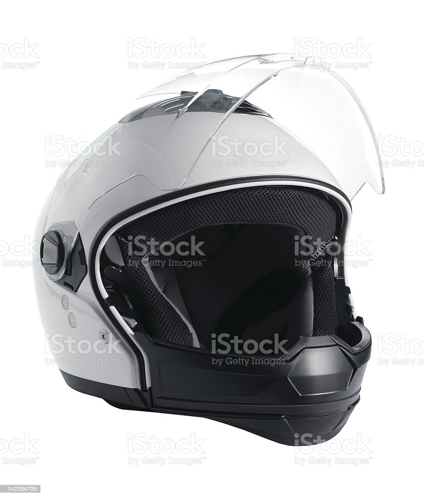 motorcycle casco blanco - foto de stock