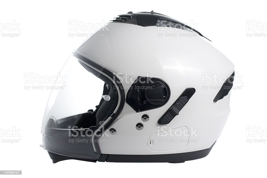 White motorcycle helmet royalty-free stock photo