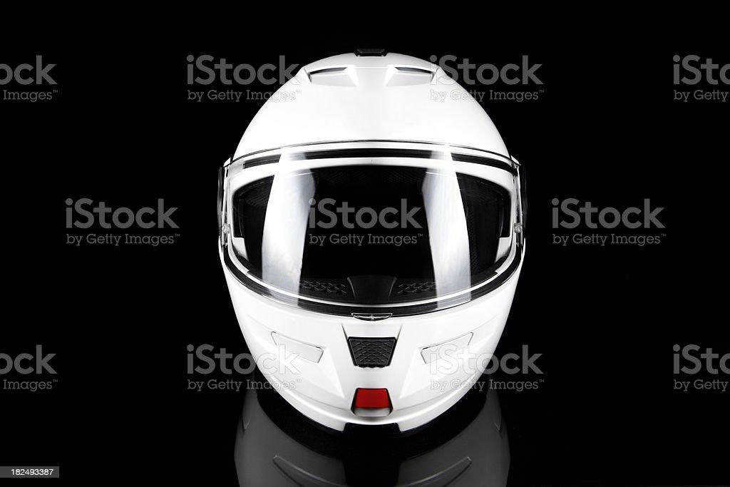 White Motorcycle Helmet stock photo