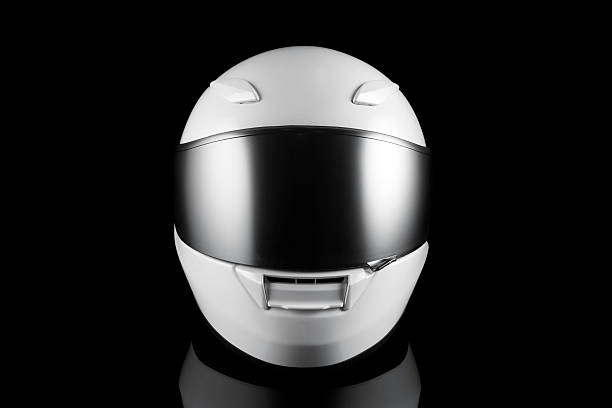white motorcycle helmet - helmet visor stock photos and pictures