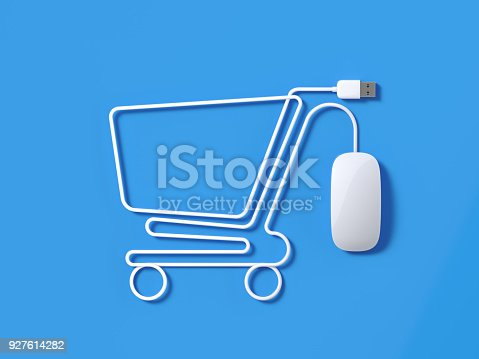 White mouse cable forming a shopping cart symbol on blue background. Horizontal composition with copy space and clipping path.