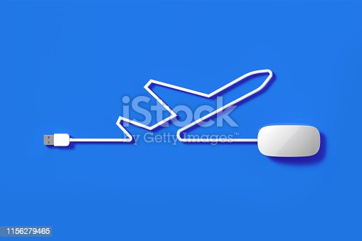 White mouse cable forming an airplane icon on blue background. Horizontal composition with copy space.