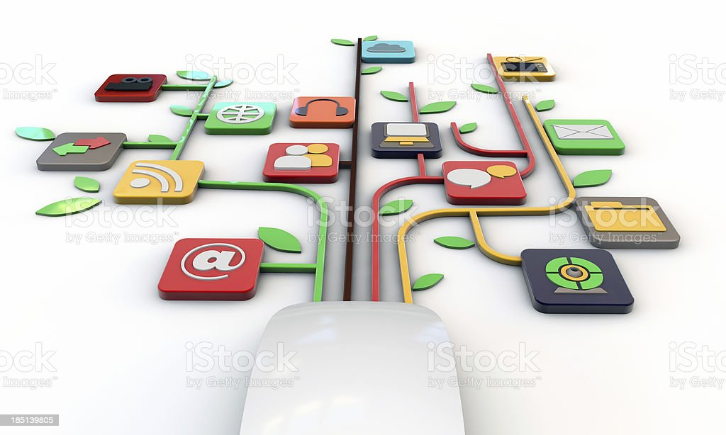 white mouse connected with web icons stock photo