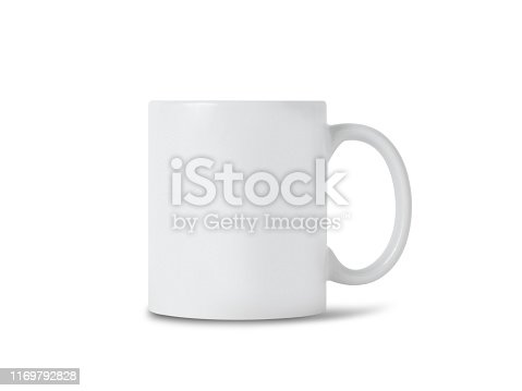 White mug cup mockup for your design isolated on white background with clipping path.
