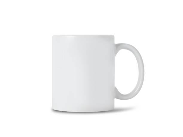 白色杯子杯模型為您的設計隔離在白色背景與剪輯路徑 - 有耳杯 個照片及圖片檔