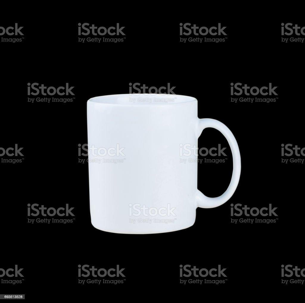 White mug isolated on black background stock photo