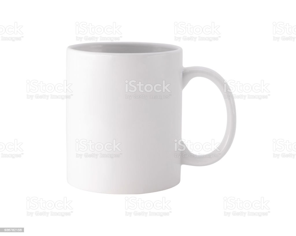 White mug on isolated background with clipping path. Blank drink cup for your design.