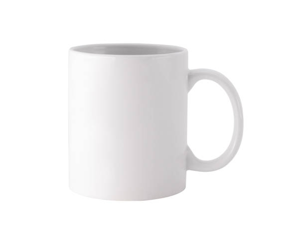 white mug on isolated background with clipping path. blank drink cup for your design. - tazza foto e immagini stock