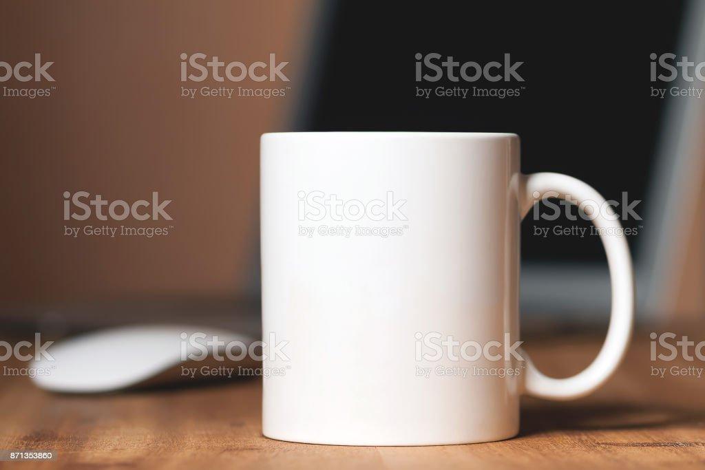 White mug on the desktop royalty-free stock photo