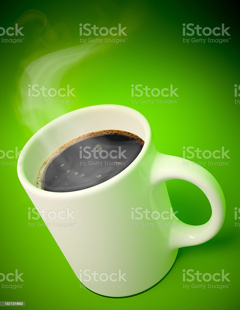White mug with hot coffee and vapor royalty-free stock photo