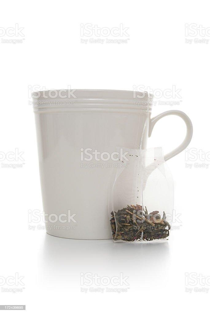 white mug with tea bag royalty-free stock photo