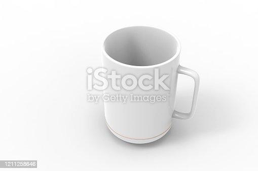 white mugs isolated on white background mock-up, copy space stock photo