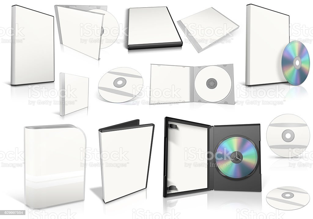 White multimedia disks and boxes on white background stock photo