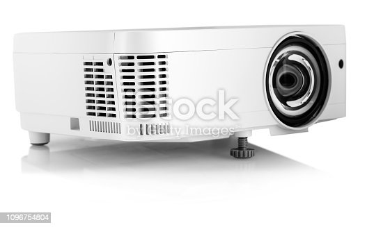 White Multimedia Projector Isolated on White Background