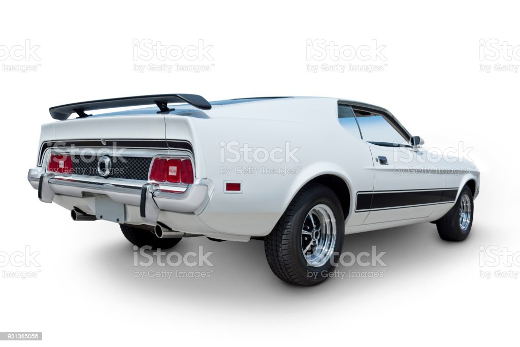 White Muscle Car Rear View Stock Photo More Pictures Of 1970 1979