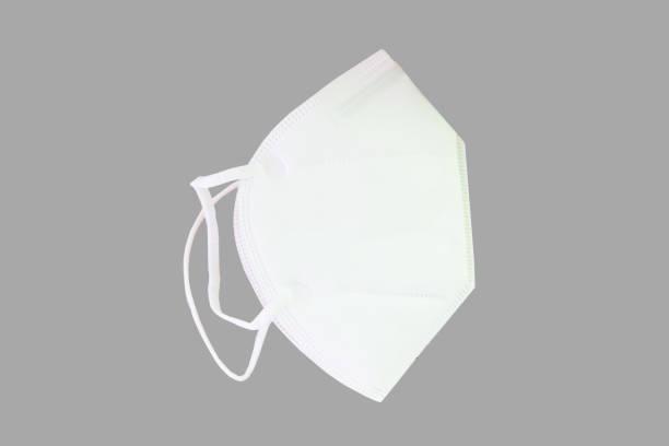 White N95 Mask on gray background stock photo