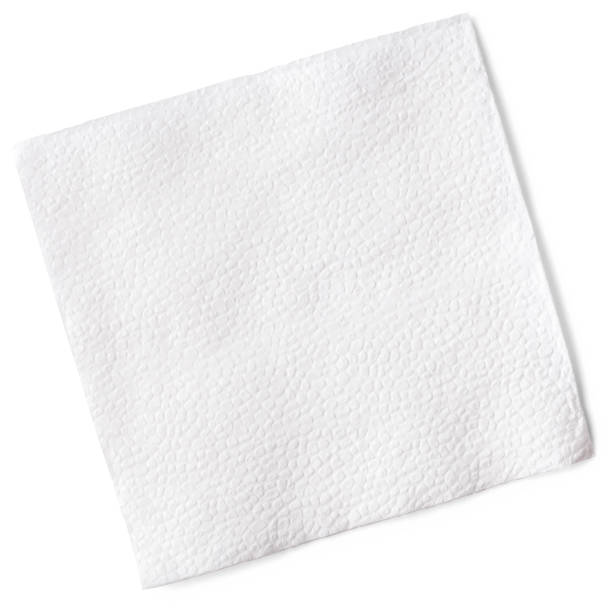 White napkin, clipping path, isolated on white background, high quality photo stock photo