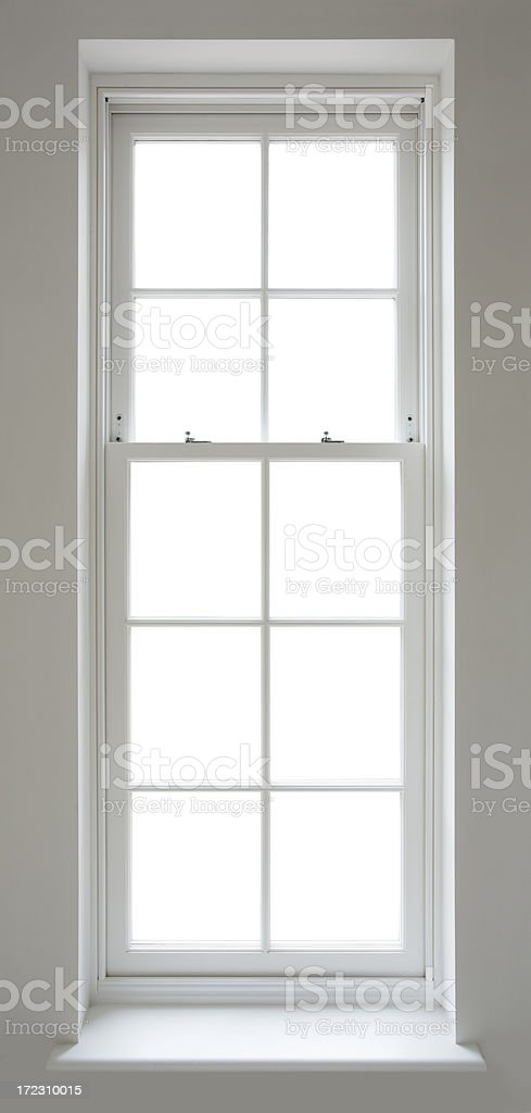 white narrow window with clipping path stock photo