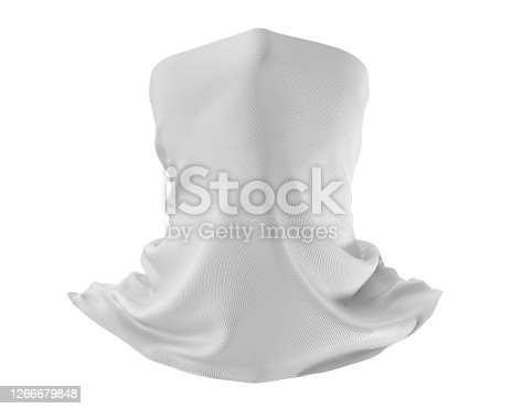 White Neck gaiter mockup, Blank Fabric necker dust proof 3d Rendering isolated on white background