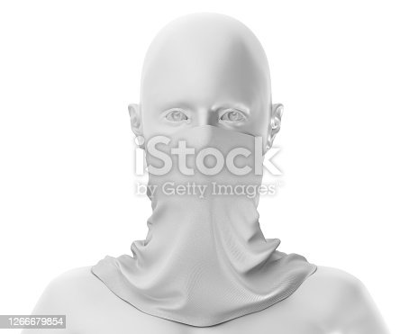 White Neck gaiter mockup with white mannequin, Blank Fabric necker dust proof 3d Rendering isolated on white background