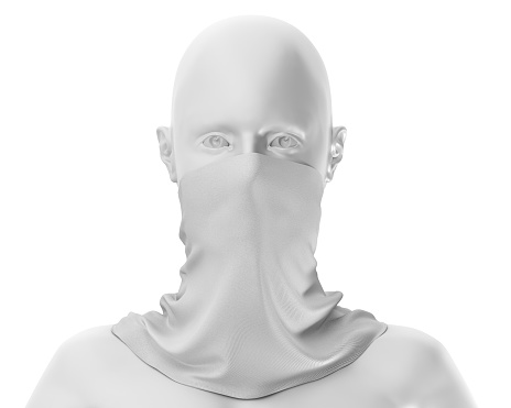istock White Neck gaiter mockup With white mannequin, Blank Fabric necker dust proof 3d Rendering isolated on white background 1266679854