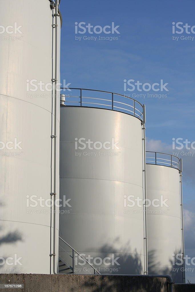 White neutral oil tanks for storage of fuel royalty-free stock photo