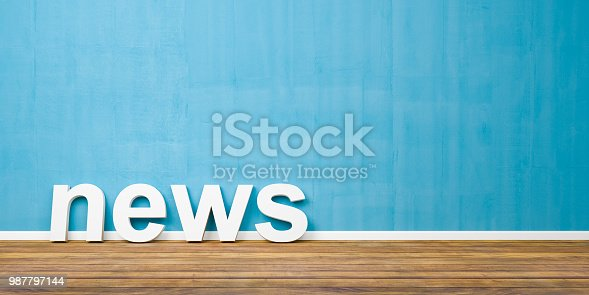 3D White News Text Shape on Brown Wooden Floor Against Blue Wall with Copyspace - 3D Illustration.