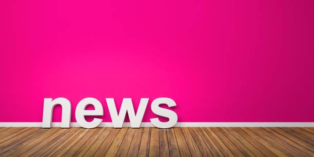3D White News Text Form auf braunen Holzboden gegen rosa Wand mit Copyspace - 3D-Illustration – Foto