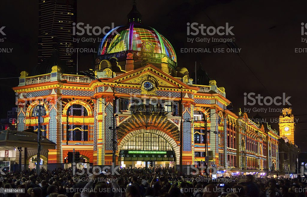 White Night Melbourne - Flinders St Station stock photo