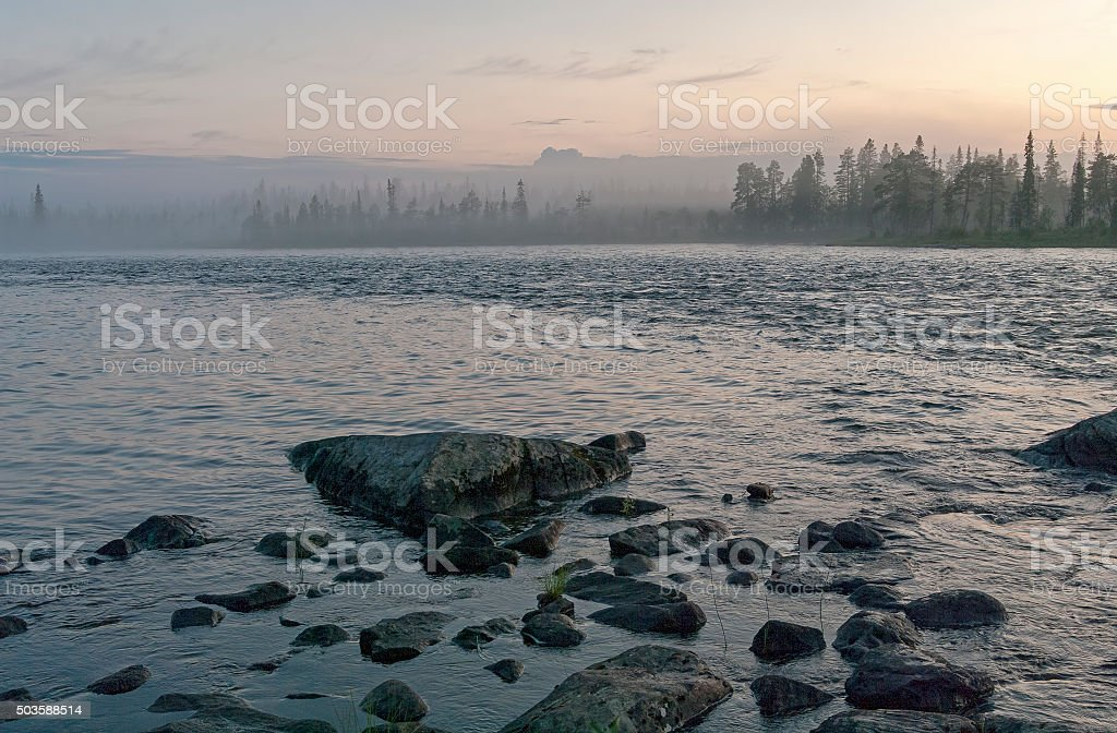 White night on the river. stock photo