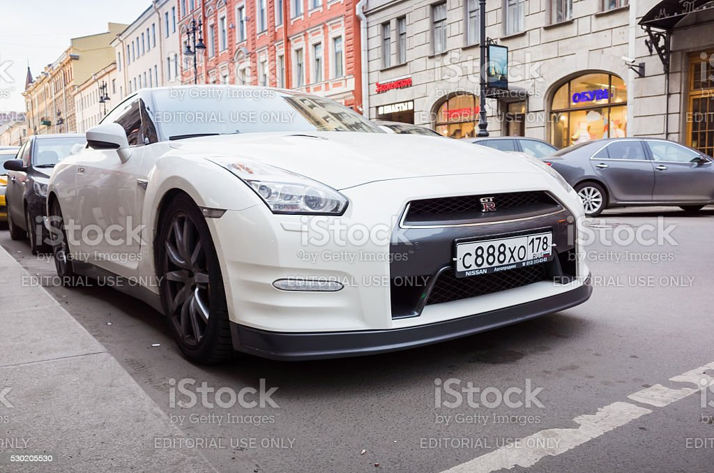 White Nissan GT R Premium R35 Car Royalty Free Stock Photo