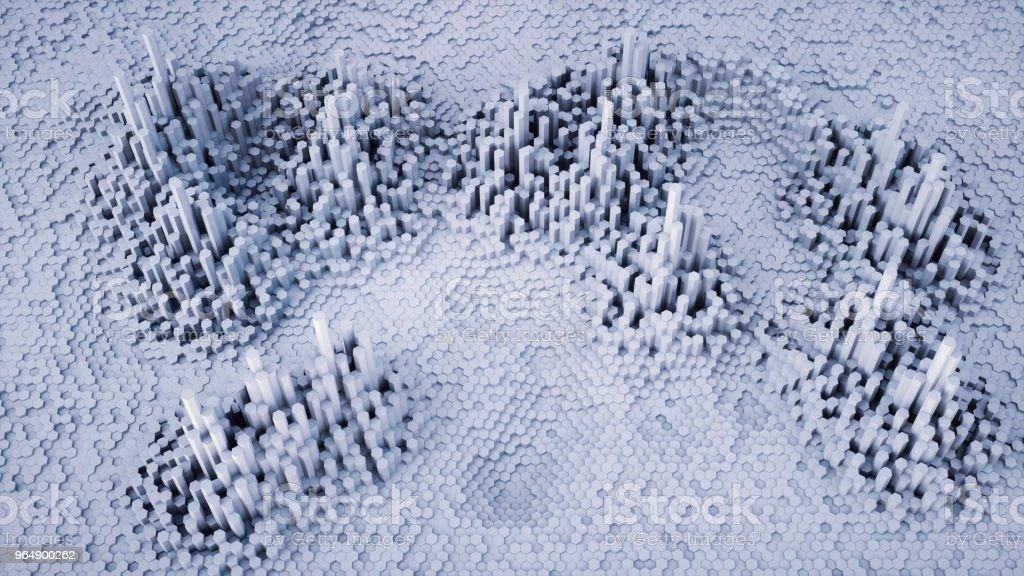 3D. 六邊形形狀的白色雜訊輪廓圖 - 免版稅不平坦的圖庫照片